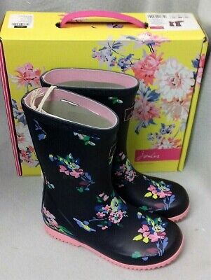 Joules Junior Welly Roll Up Navy Spaced Ditsy Wellington Wellies Box Child Sz 10