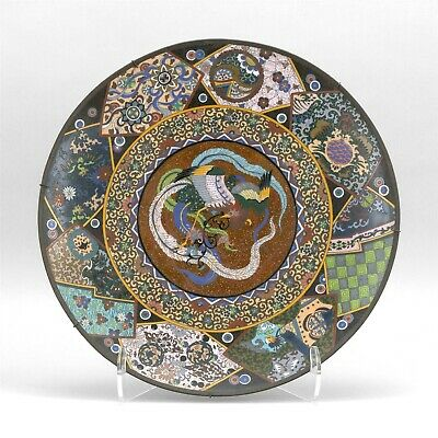 Antique 19th C Meiji Japanese Cloisonne Enamel 18 Inch Phoenix Charger