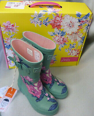 Joules Junior Welly Print Green Floral Wellington Wellies Box Child Girl Size 8