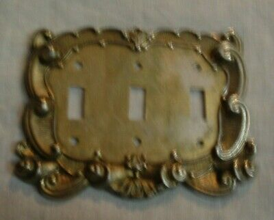 Vintage Ornate Swirl Brass American Tack & Howe Co. Triple Switch Plate Cover