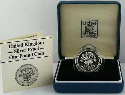 1986  Royal Mint N.I. Flax Plant Silver Proof one pound £1 coin with COA and Box