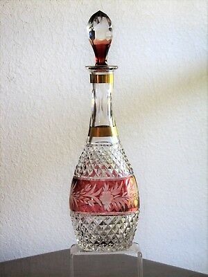 "Ebeling Reuss MARCHIONESS 12 1/2"" Diamond Cut Red and Clear Decanter - Gold Trim"