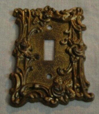Vintage Ornate flower Brass American Tack & Howe Co single switch plate cover