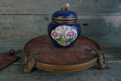 antique french sevres porcelain inkwell on burl wood & brass ornate ink stand