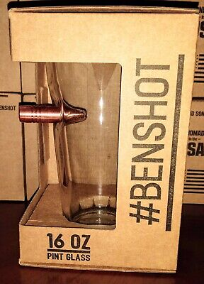 BenShot Pint Glass- 16oz: Embedded With A Copper Bullet
