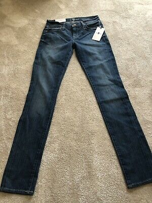 "7 For All Mankind Ladies ""Roxanne"" Straight Leg Blue Denim Jeans W25 Brand New"
