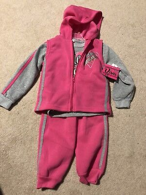 Toddler Girls 3 Piece Sweatsuit Outfit Hello Gorgeous 12 Months NWT