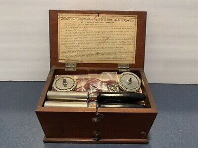 1800's Quack Home Medical Apparatus No. 4 D.D. Complete W/ Instructions/ Oak Box
