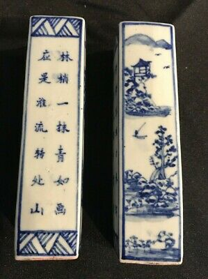 Pair of antique Chinese porcelain blue & White Scholars wax desk seals stamps #2