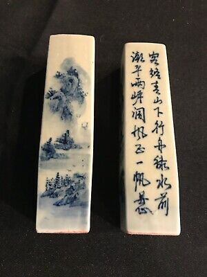 Pair of antique Chinese porcelain blue & White Scholars wax desk seals stamps