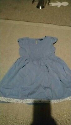 Girls The Little White Company London blue dress with lace detail 3-4 years