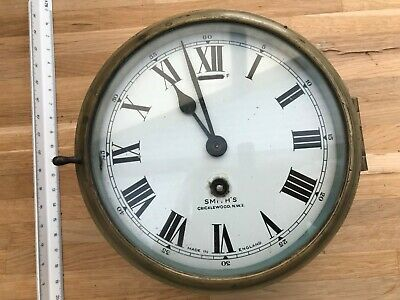Old brass ships maritime interest smiths brass bulkhead clock.