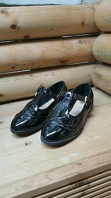 Girls Black Patent Style Flat Tbar shoes From New Look Size 5 immaculate