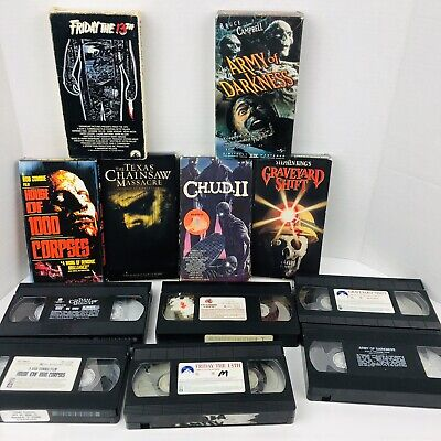 Horror VHS Lot House of 1000 Corpses Army of Darkness Friday 13th Chudd 2 X6
