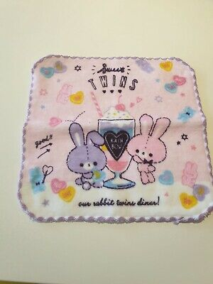 Kawaii Japanese Flannel Face Towel Cute Pastel Bunny /& Bear Pink Fairy Kei Gift