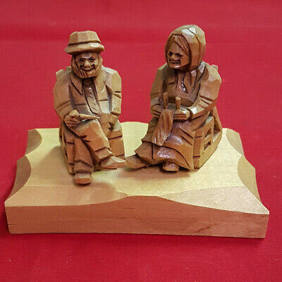 """Quebec Carving by D. Daigle. Very Small and Intricate. Signed. Base is 4"""" X 2.5"""""""