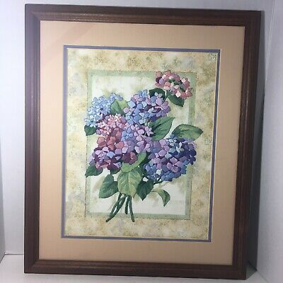 Dimensions Gold Collection Elegant Hydrangeas Completed Framed Crewel Embroidery