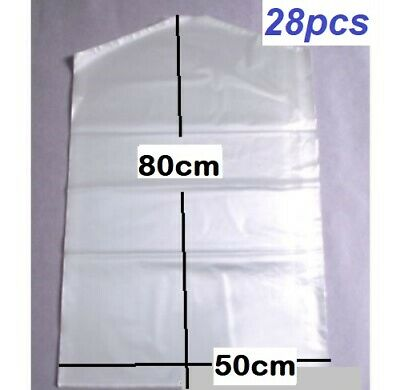 28x Garment Protection Covers Dry Cleaning Bags Clothes Storage 50cmx80cm New