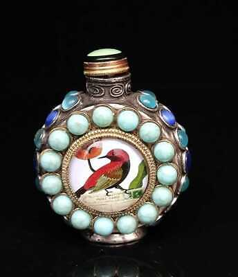 Collectible Chinese Handmade silver & Turquoise Inlaid Snuff Bottles Exquisite