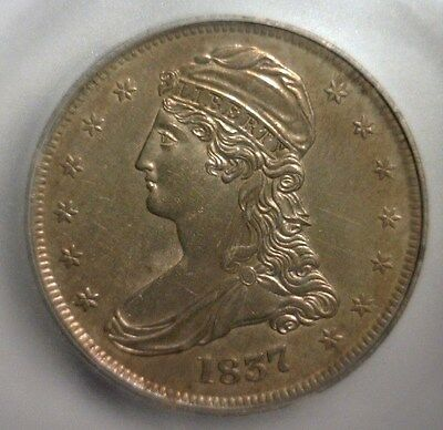 1837  Capped Bust Silver  Half Dollar  Reeded Edge   Icg Ms-60  Details