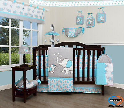 13PCS Blue Grey Elephant Baby Nursery Crib Bedding Sets  Holiday Special