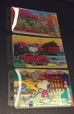 3 Snoopy Lenticular 3D Card Holders, 7-11 Taiwan 2007 Collectibles