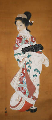 JAPANESE PAINTING HANGING SCROLL FROM JAPAN KIMONO ANTIQUE BEAUTY WOMAN 874m