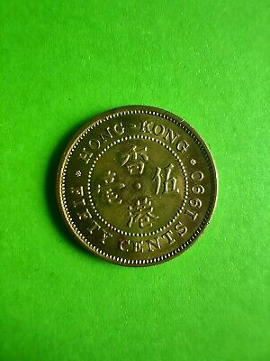 1990 Hong Kong Fifty Cents Au 55 Nickel-Brass Rare