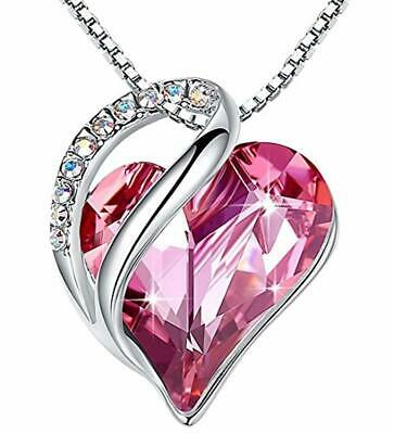 "Leafael ""Infinity Love Heart Pendant Necklace Made with Swarovski Crystals Birth"