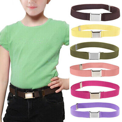 Children Kids Waist Belt Elastic Adjustable Waistband Buckle Canvas Belt Decor