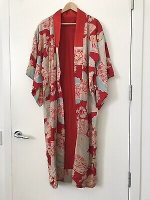 Vintage (I Think) Kimono - Red Background With Fan Design