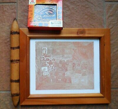 Aboriginal Framed Print, Message Stick And Aboriginal Themed Coasters X 6