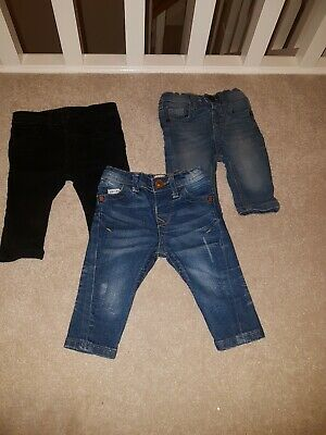 3 Pairs Of Boys River Island Jeans 0-3m
