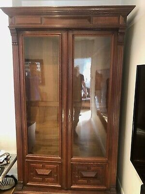 Antique French Louis XV1 Style Vintage Glazed Double Bookcase Cupboard