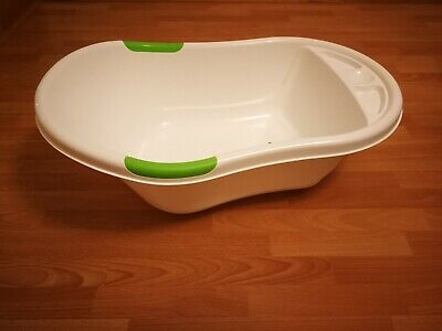 Baby Bath Tub - white green. Used but in good condition.