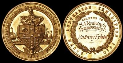 AUSTRALIA : 1910 South Australian Chamber of Manufacturers gold prize medal.