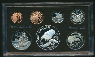 New Zealand 1984 Proof Set 27g 9.25 Silver $1 Chatham Island Black Robin