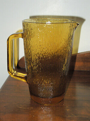 Set Of (2) VINTAGE AMBER TEXTURED GLASS JUGS