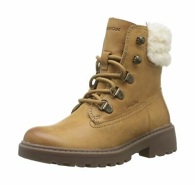 Geox J Casey Girl H Combat Ankle Boots, Beige (Biscuit C5046), 2.5 UK