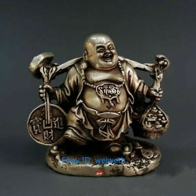 China Buddhism Fengshui Tibet Silver Wealth Yuanbao Money Maitreya Statue