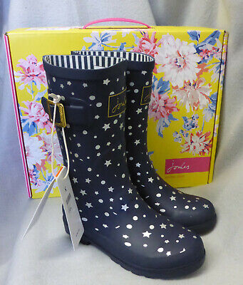 Joules Junior Welly Print Navy Stars Wellington Wellies Box Child Girl Size 8