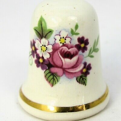 Collectable China Thimble Pink Roses Double Sided Made In England
