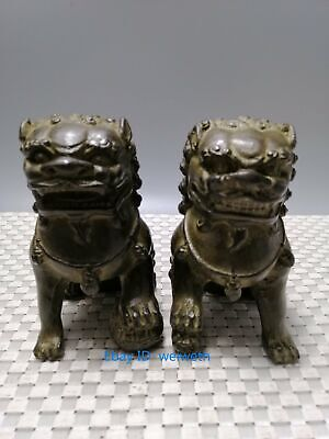 A Pair Old Antiques Chinese Bronze Fu Foo Dog Guardian Lion Statues