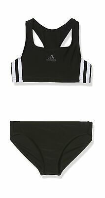 adidas Girls' Fit 2pc 3s Y Swimsuit Size: 1112Y black/White