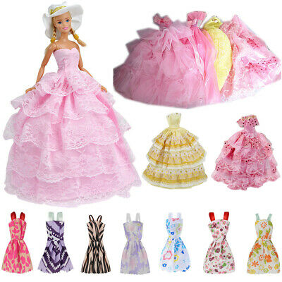 12Pcs Gown Dress Clothes Set For Barbie Dolls Wedding Party Prom Causal Decor.