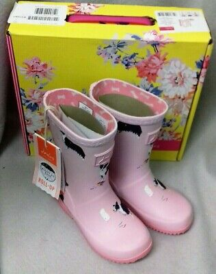 Joules Junior Welly Roll Up Light Pink Dog Wellingtons Wellies Box Child Size 12