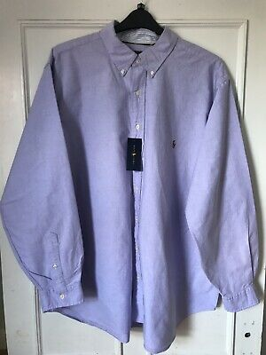 Mens Authentic Polo Ralph Lauren Lilac Long Sleeve Shirt, Size 4XL New