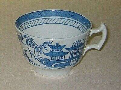 Woods Ware China  TEA CUP  - QGC  marked Canton blue white pattern  - 2.75in