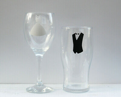 4 x pairs of Bride and Groom wedding vinyl sticker decals for wine glass