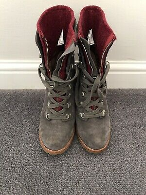 Ugg Heeled Grey Suede Lace Up Ankle Boots - Size 5.5
